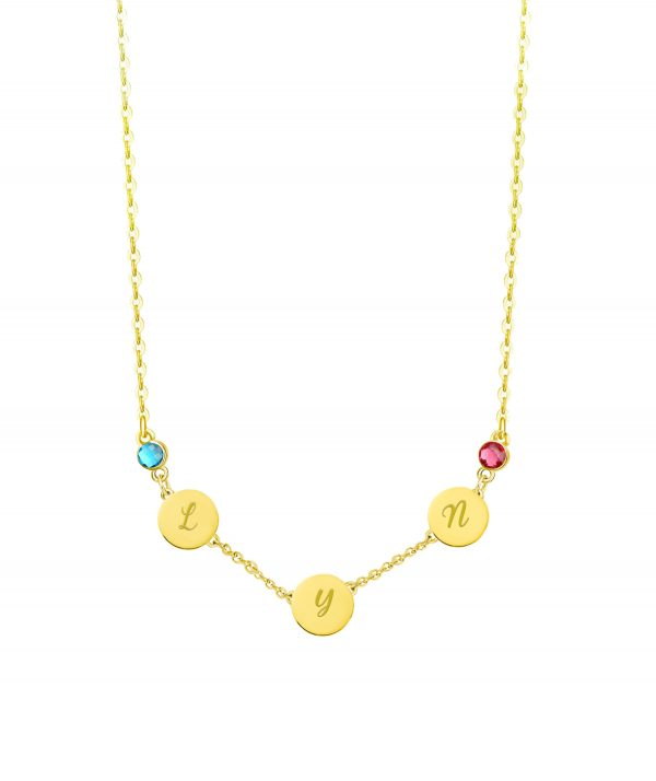 Letter Name Necklace with Birthstone 18k Gold
