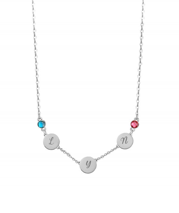 Letter Name Necklace with Birthstone Platinum Plated