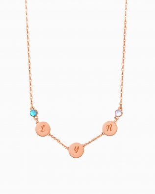 Letter Name Necklace with Birthstone Sterling Silver