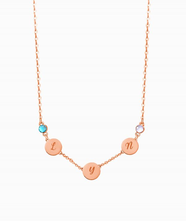 Letter Name Necklace with Birthstone Rose Gold Plated