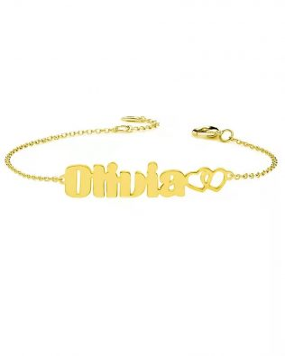 Personalized Olivia Style Name Bracelet Silver