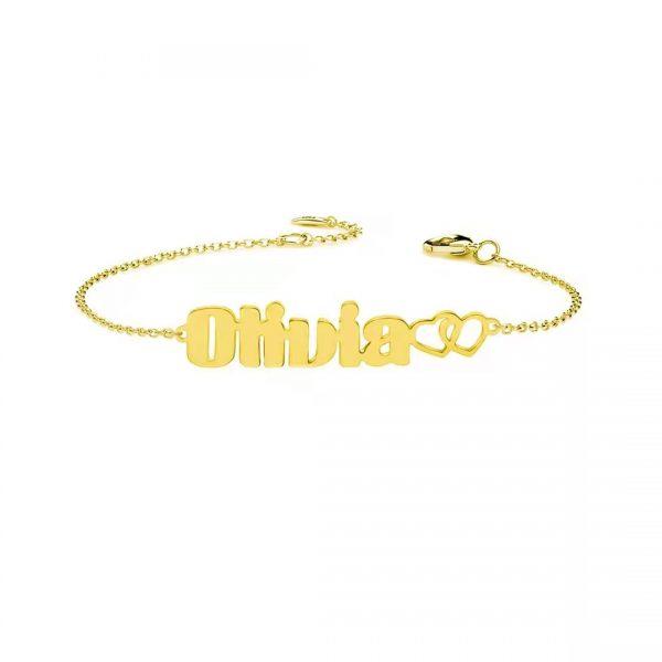 Olivia Name Bracelet 18k Gold Plated 1