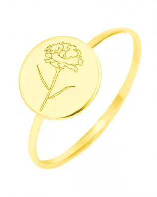 Birth Flower Ring Sterling Silver