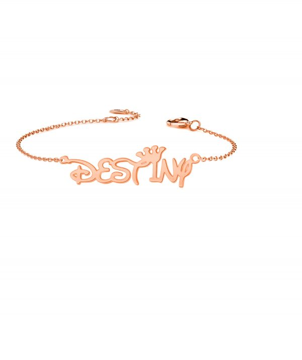 destiny style name bracelet rose gold plated