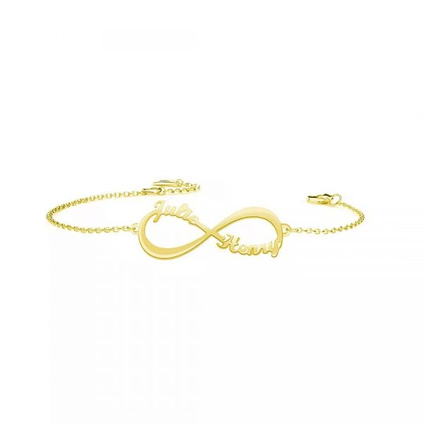 infinity double name bracelet 18k gold plated