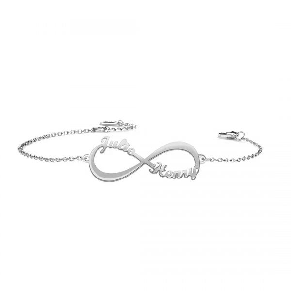 infinity double name bracelet platinum plated
