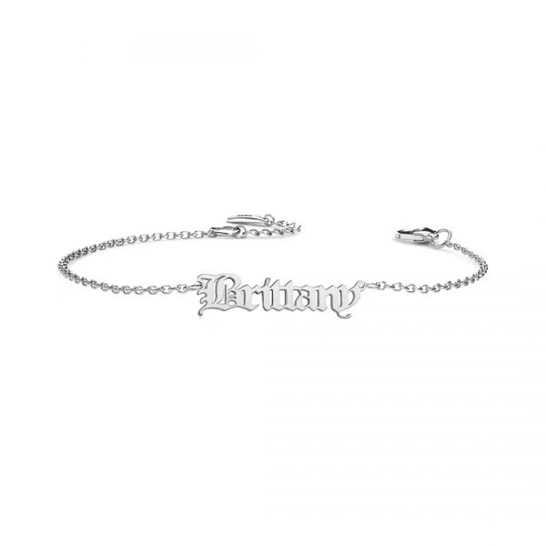 old english name bracelet platinum plated