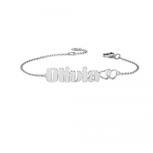 olivia name bracelet platinum plated