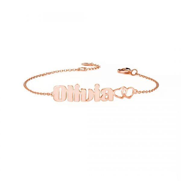 olivia name bracelet rose gold plated