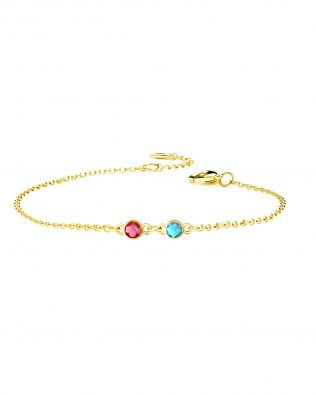 Personalized Bracelet with Two Birthstone Sterling Silver