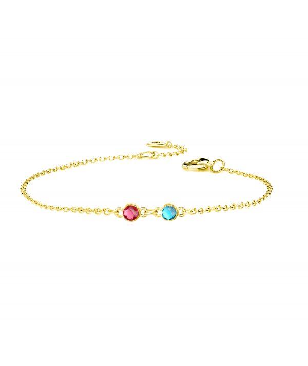 2 birthstone bracelet gold