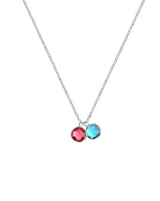 Personalized Double Birthstone Necklace Sterling Silver