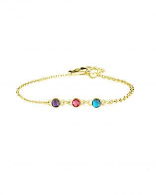 Personalized Bracelet with Three Birthstone Sterling Silver
