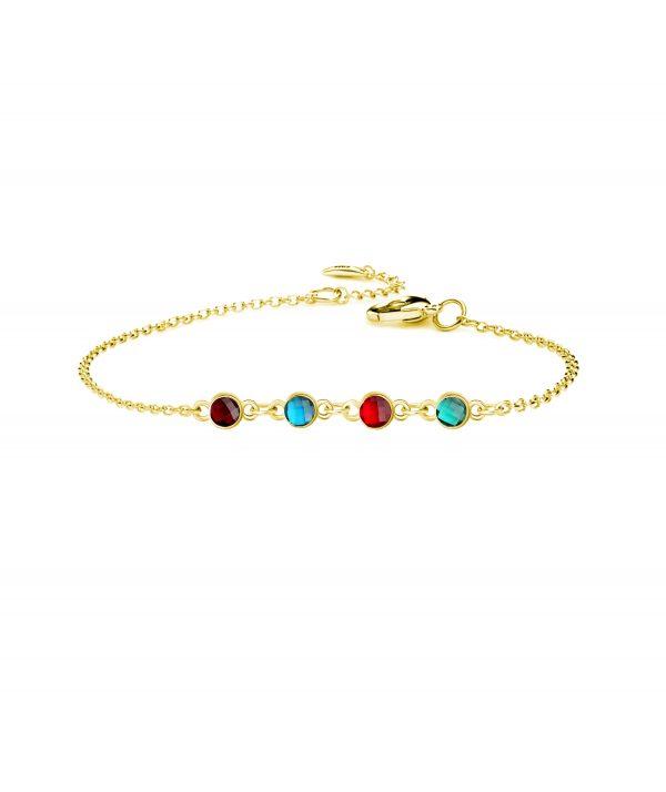 4 birthstone bracelet gold