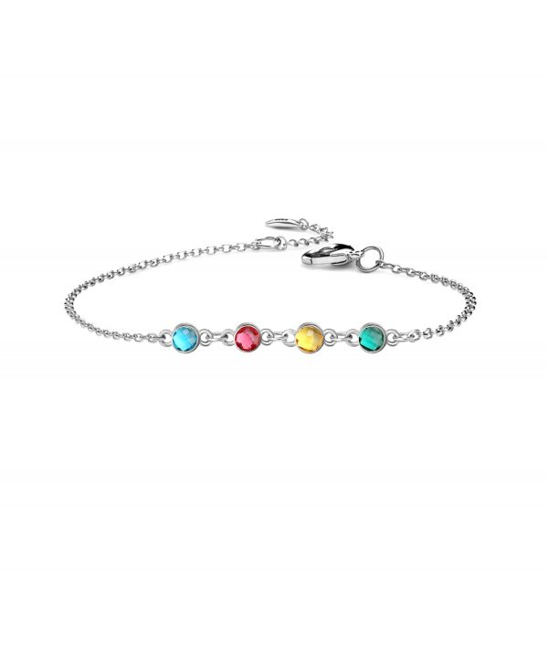 4 birthstone bracelet platinum