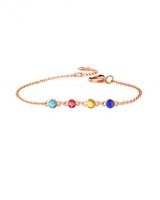 Personalized Bracelet with Four Birthstone Sterling Silver