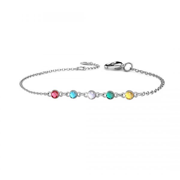 5 Birthstone bracelet platinum