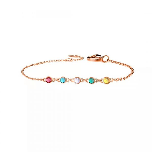 5 Birthstone bracelet rose gold