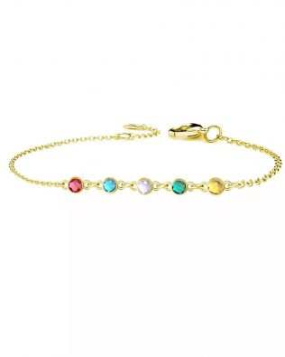 Personalized Bracelet with Five Birthstone Sterling Silver