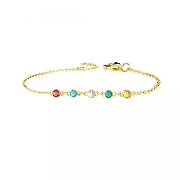 5 birthstone bracelet gold
