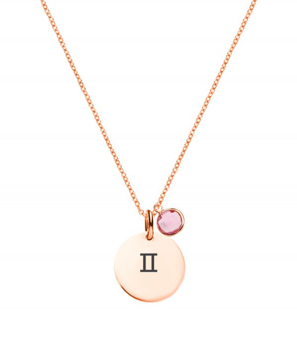 Gemini Necklace with Birthstone Rose Gold