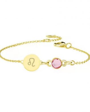 Personalized Horoscope Disc Bracelet with Birthstone Silver