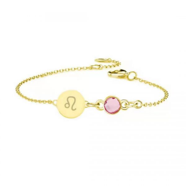 Horoscope Disc Bracelet with Birthstone gold
