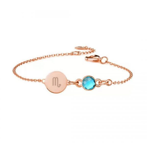 Horoscope Disc Bracelet with Birthstone rose gold
