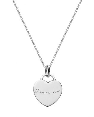 Personalized Heart Tag Necklace Sterling Silver