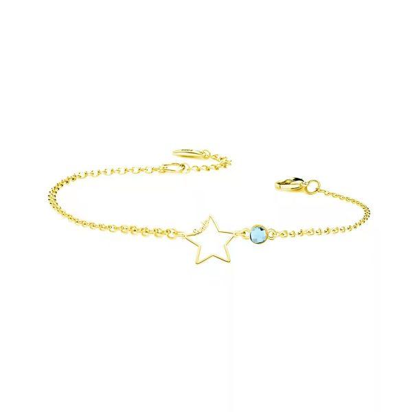 Star Bracelet with birthstone gold