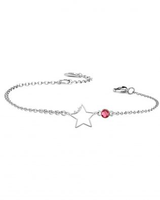Personalized Star Bracelet with Birthstone Sterling Silver
