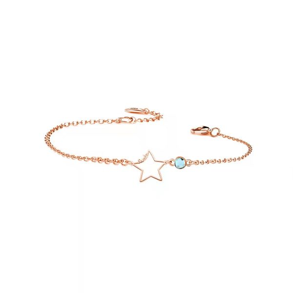 Star Bracelet with birthstone rose gold