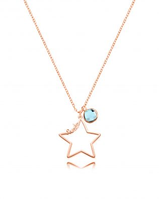 Personalized Star Name Necklace with Birthstone Silver