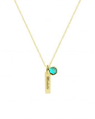 Personalized Vertical Bar with Birthstone Sterling Silver
