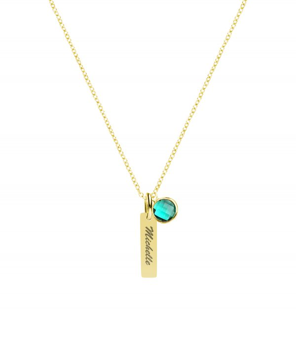Vertical bar with birthstone gold