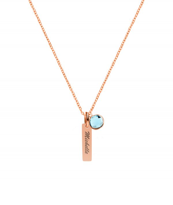 Vertical bar with birthstone rose gold