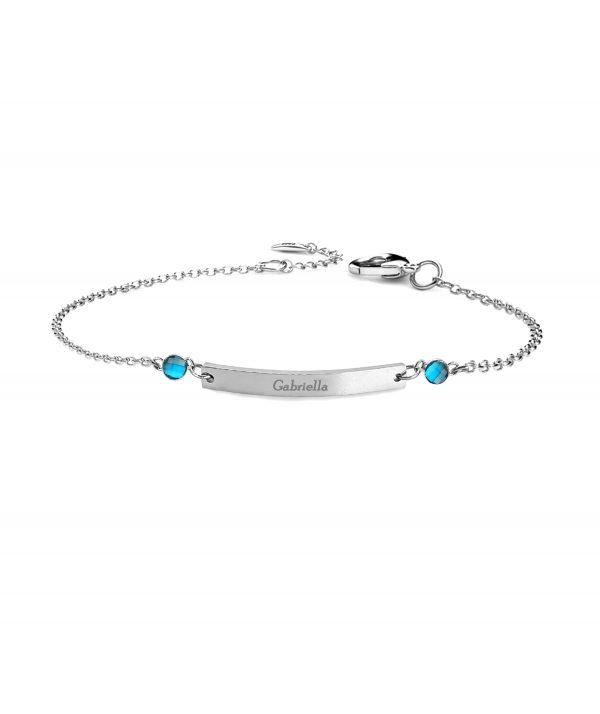 bar bracelet with 2 birthstone platinum
