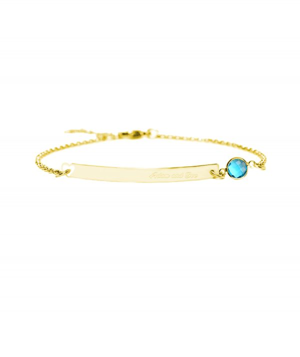 bar bracelet with birthstone gold