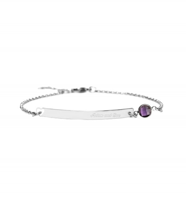bar bracelet with birthstone platinum