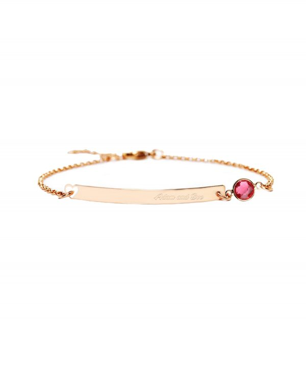 bar bracelet with birthstone rose gold