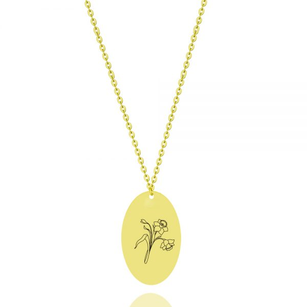 birthflower personalized necklace 18k gold plated sterling silver