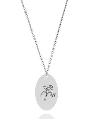 Personalized Birth Flower Necklace Sterling Silver