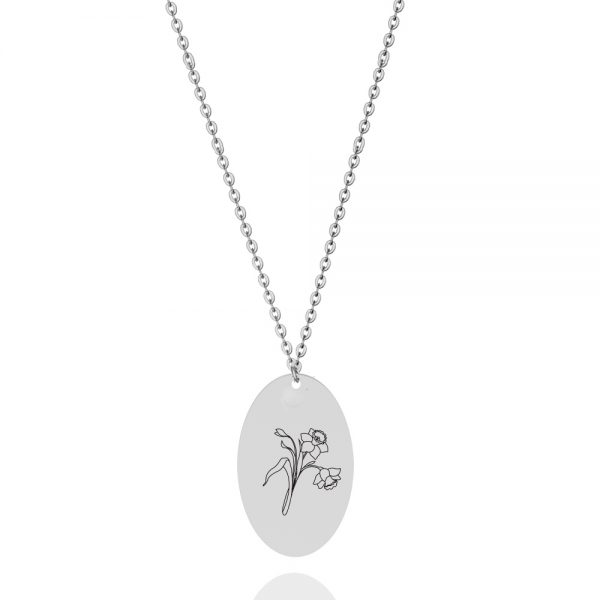 birthflower personalized necklace platinum plated sterling silver