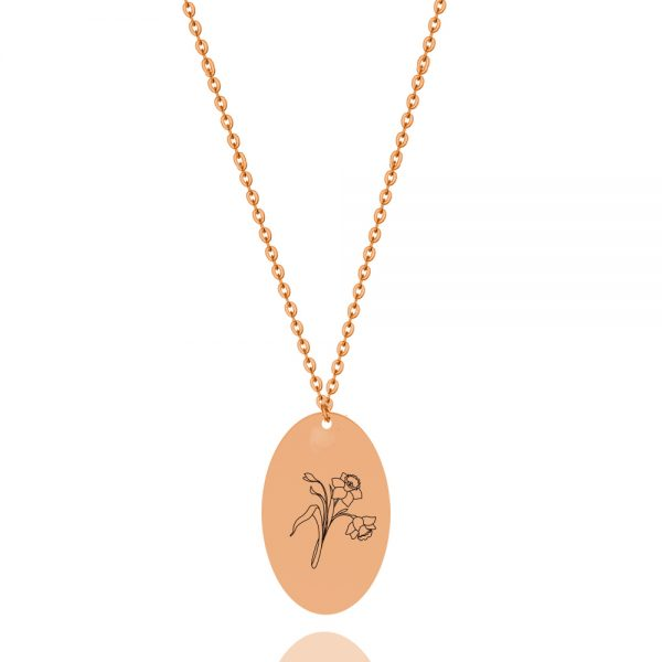birthflower personalized necklace rose gold plated sterling silver