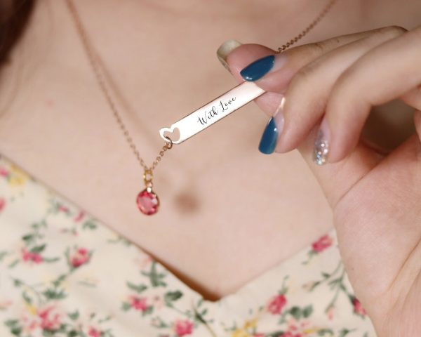 heart bar name necklace sterling silver