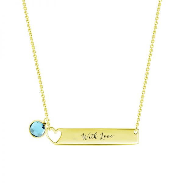 bar name necklace with birthstone sterling silver pesonalized 18k gold plated
