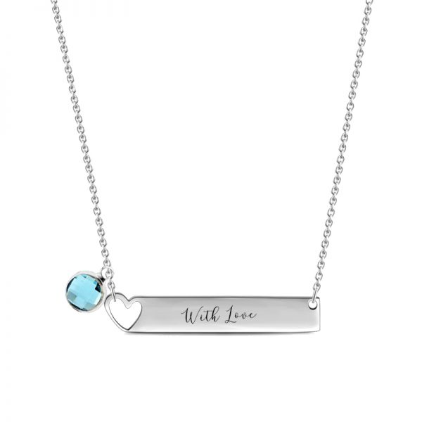bar name necklace with birthstone sterling silver pesonalized platinum plated