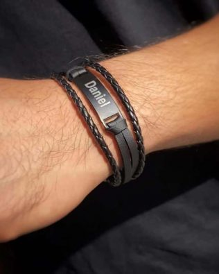 Personalized Braid men core bracelet Black
