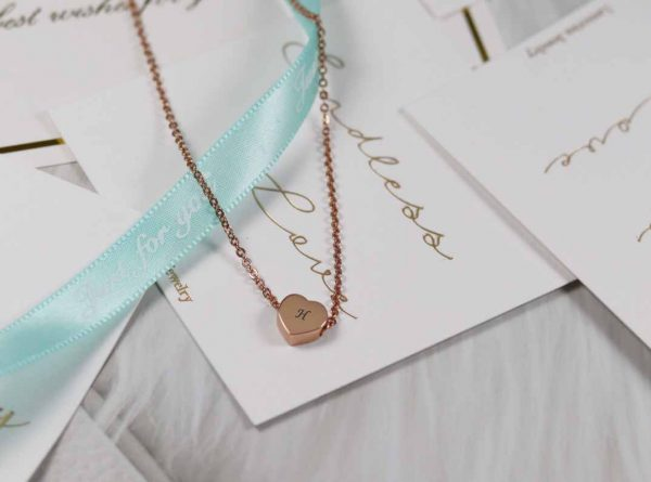 personalized initial heart tag