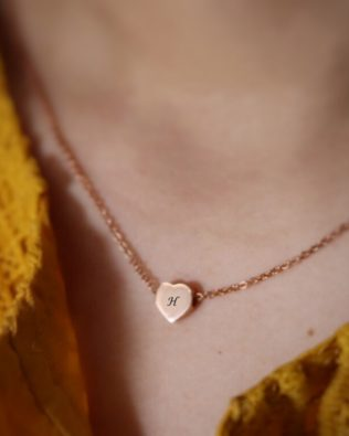 Personalized Initial Heart Tag Necklace Sterling Silver